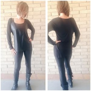 Faux Black Leather Tunic